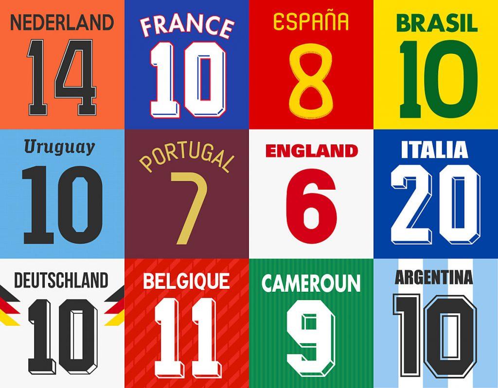 Trikotnummern von bekannten Nationalmannschaften (Shutterstock / Thomas Pajot)